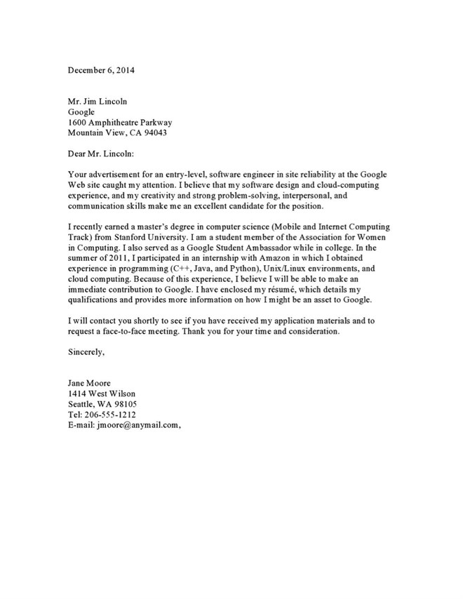 Sample cover letter to a google recruiter vault blogs for Cover letter examples for recruiter position