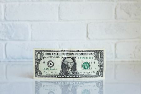 Dollar bill on a white brick background
