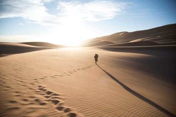 Following footsteps in the desert