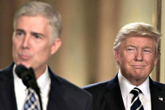 Trump smirks as Justice Gorsuch speaks