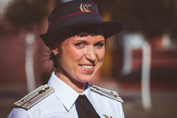Female Military Member in Uniform
