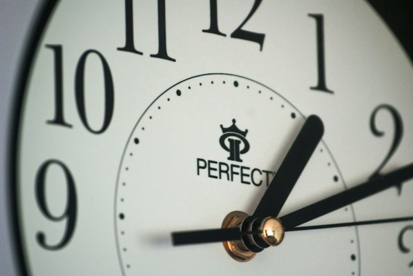 Clock with perfect written on face