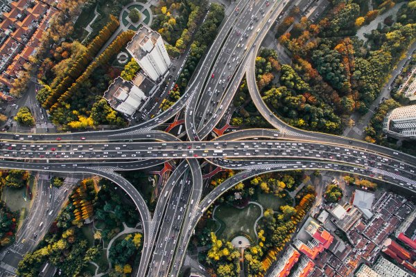 aerial shot of a road interchange