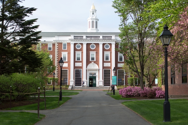 Harvard Business School Baker Library in spring