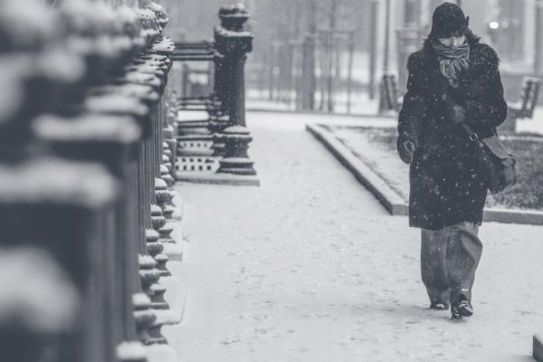 woman walking snow