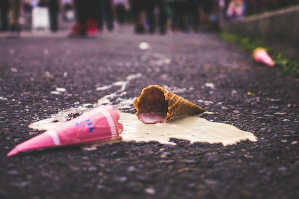 dropped ice cream cone