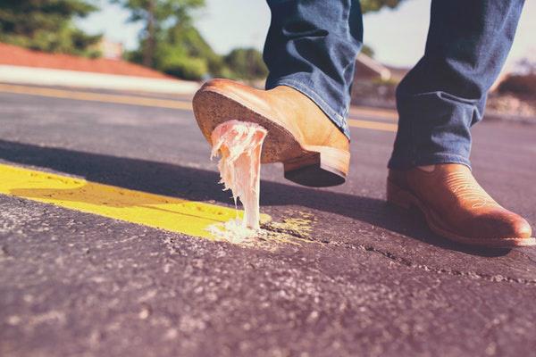 Man Stepping in Gum